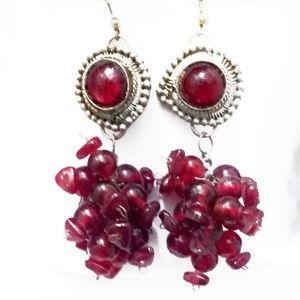 VTG Silver & Red Glass Bead Cluster Drop Earri